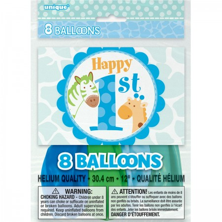 "Blue Safari First Birthday Latex Balloons 12"" (8)"