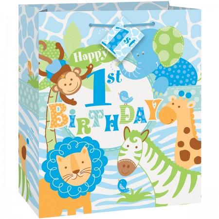Blue Safari First Birthday Medium Giftbag (1)