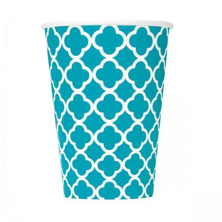 Caribbean Teal Quatrefoil Cups (6)