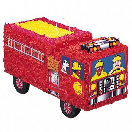 Fire Engine Pinata with Pull String Kit (1)