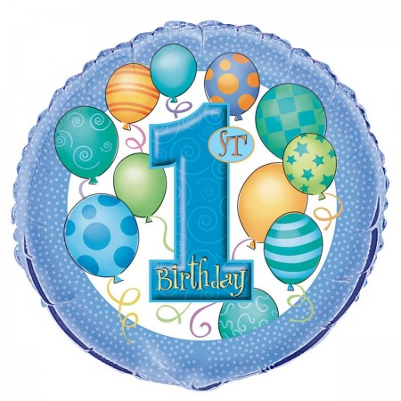 "First Birthday Blue 18"" Foil Balloon (1)"