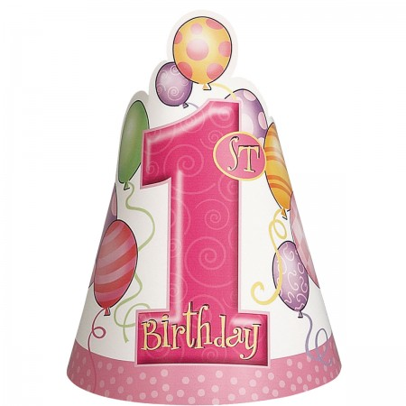 First Birthday Pink Party Hats (8)