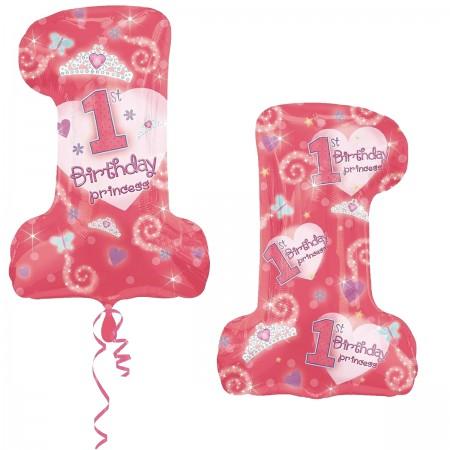 First Birthday Princess Girl Foil Balloon (1)