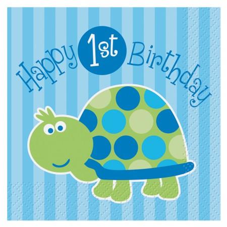 First Birthday Turtle Beverage Napkins (16)