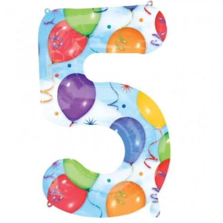 "5 Number Shape Balloons And Streamers 34""  (1)"
