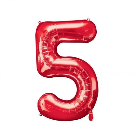 """34"""" 5 Red Number Shape - Package (1)"""