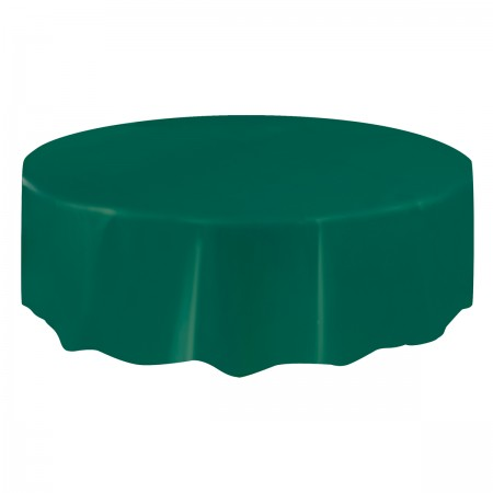 Forest Green Round Plastic Table Cover (1)