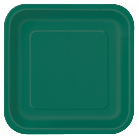 Forest Green Square Dessert Plates (16)