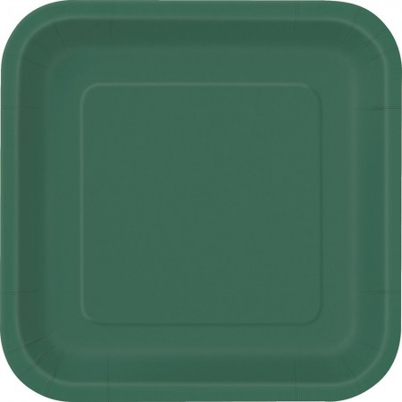 Forest Green Square Lunch Plates (14)
