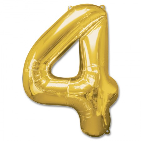 """34"""" 4 Gold Number Shape - Package (1)"""