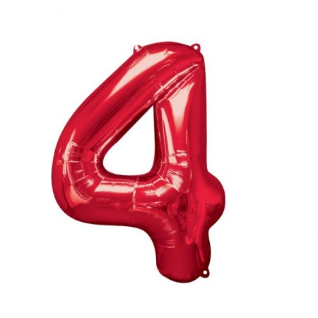 """34"""" 4 Red Number Shape - Package (1)"""