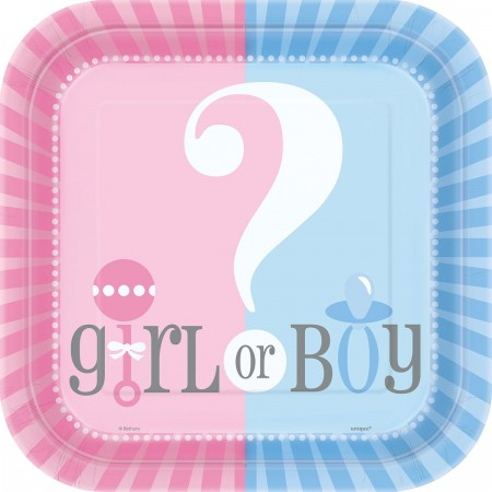 Gender Reveal Square Lunch Plates (8)