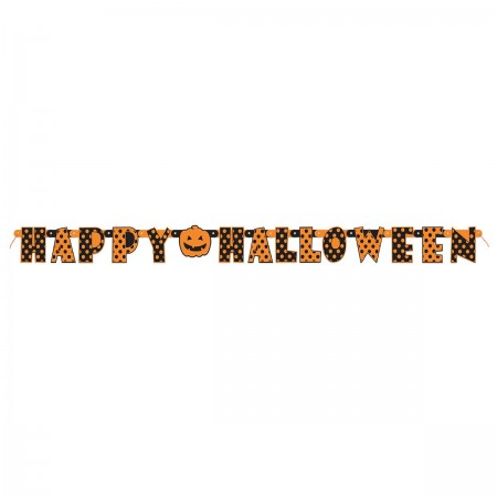 Orange & Black Halloween Dots Jointed Banner (1)