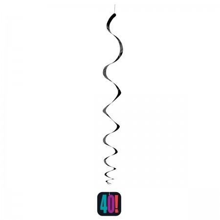 "40th Milestone Birthday Hanging Swirl Decorations 26"" (3)"