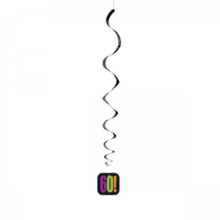 "60th Milestone Birthday Hanging Swirl Decorations 26""L (3)"