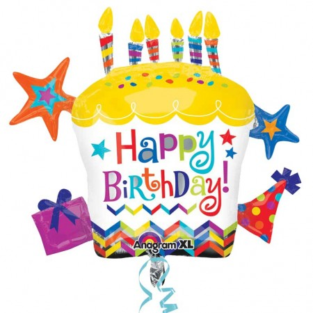 "28"" Happy Birthday Cupcake Star Foil Balloon (1)"