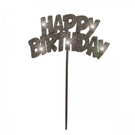 Happy Birthday Flashing Pick Decoration - Black (1)
