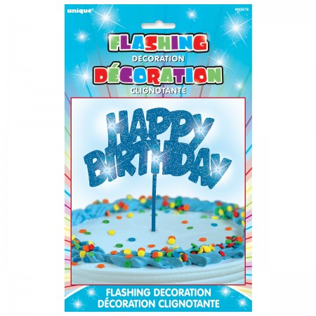 Happy Birthday Flashing Pick Decoration - Blue (1)