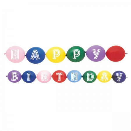 Happy Birthday printed Linking Balloons Assorted Colors (14)