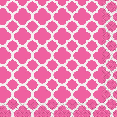 Hot Pink Quatrefoil Beverage Napkins (16)