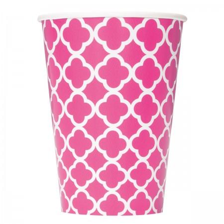 Hot Pink Quatrefoil Cups (6)