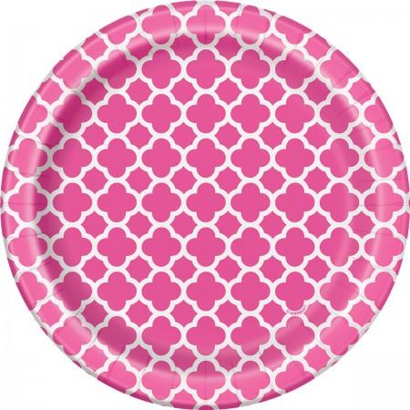 Hot Pink Quatrefoil Dessert Plates (8)