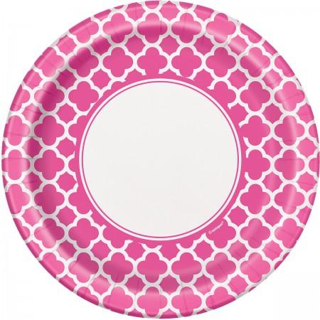 Hot Pink Quatrefoil Lunch Plates (8)