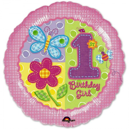 Hugs/Stitches First Birthday Girl Foil Balloon (1)