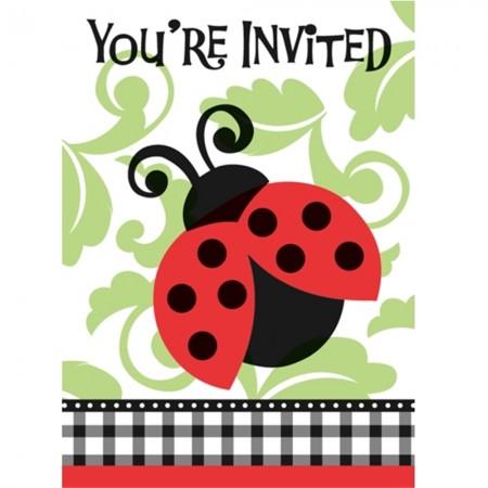 Lively Ladybug Birthday Party Invitations (8)