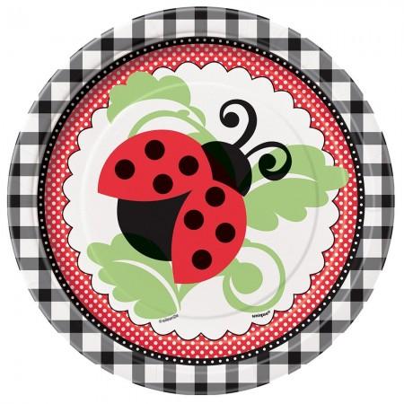 Ladybug Round Dessert Plates (8)