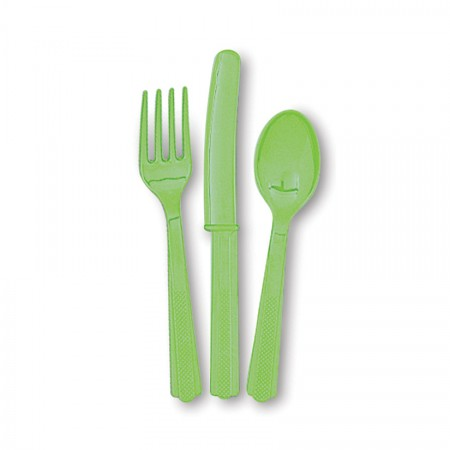 Lime Green Assorted Cutlery (24)