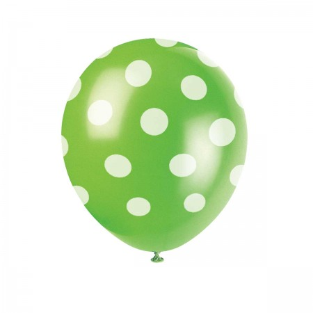 Lime Green Polka Dots Balloons (6)