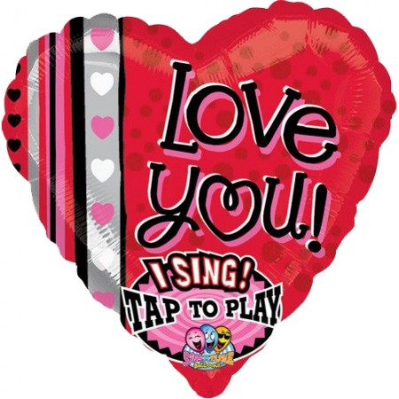 """Love You Dots and Stripes Sing-A-Tune Balloon 29""""  (1)"""