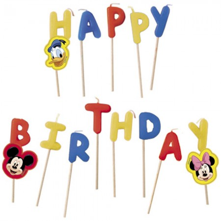 "Disney Mickey ""Happy Birthday"" Toothpick Candles (14)"