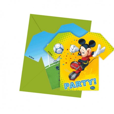 Mickey Goal Die-cut Invitations & Envelopes (6)