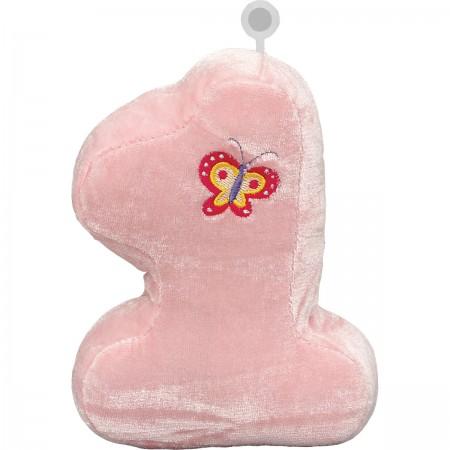 Number 1 Pink Plush Balloon Weight (1)