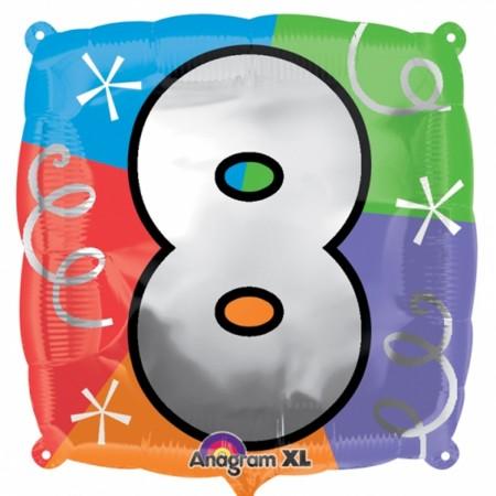 "Number 8 Quad Foil Balloon 18"" (1)"