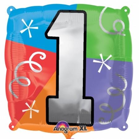 "Number 1 Quad Foil Balloon 18"" (1)"