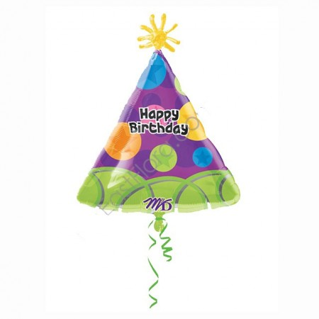 "Party Hat Birthday Personalized Balloon 18"" (1)"