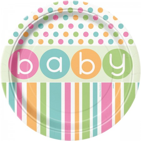 Pastel Baby Shower Lunch Plates (8)