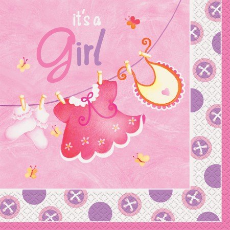 Pink Clothesline Baby Shower Lunch Napkins (16)