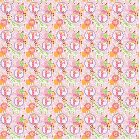 Pink Safari 1st Birthday Gift Wrap 1