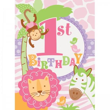 Pink Safari First Birthday Invitations (8)