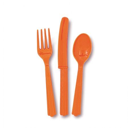 Pumpkin Orange Assorted Cutlery (18)