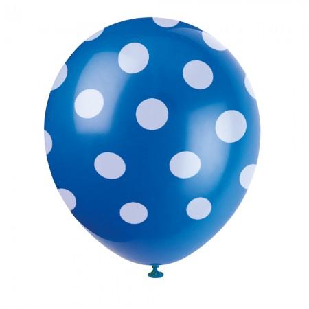 Royal Blue Polka Dot Balloons (6)