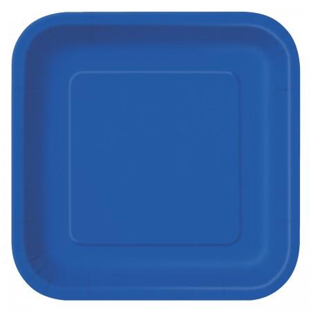 Royal Blue Square Dessert Plates (16)