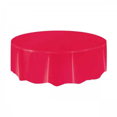 Ruby Red Round Plastic Table Cover (1)