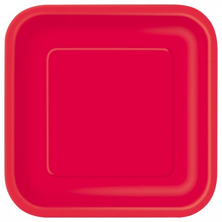 Ruby Red Square Lunch Plates (14)