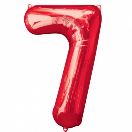 """34"""" 7 Red Number Shape - Package (1)"""