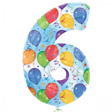 """6 Number Shape Balloons And Streamers 34""""  (1)"""